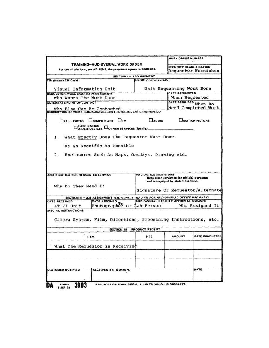 Figure 2-1. DA Form 3903, Training-Audiovisual Work Order (Example 1)