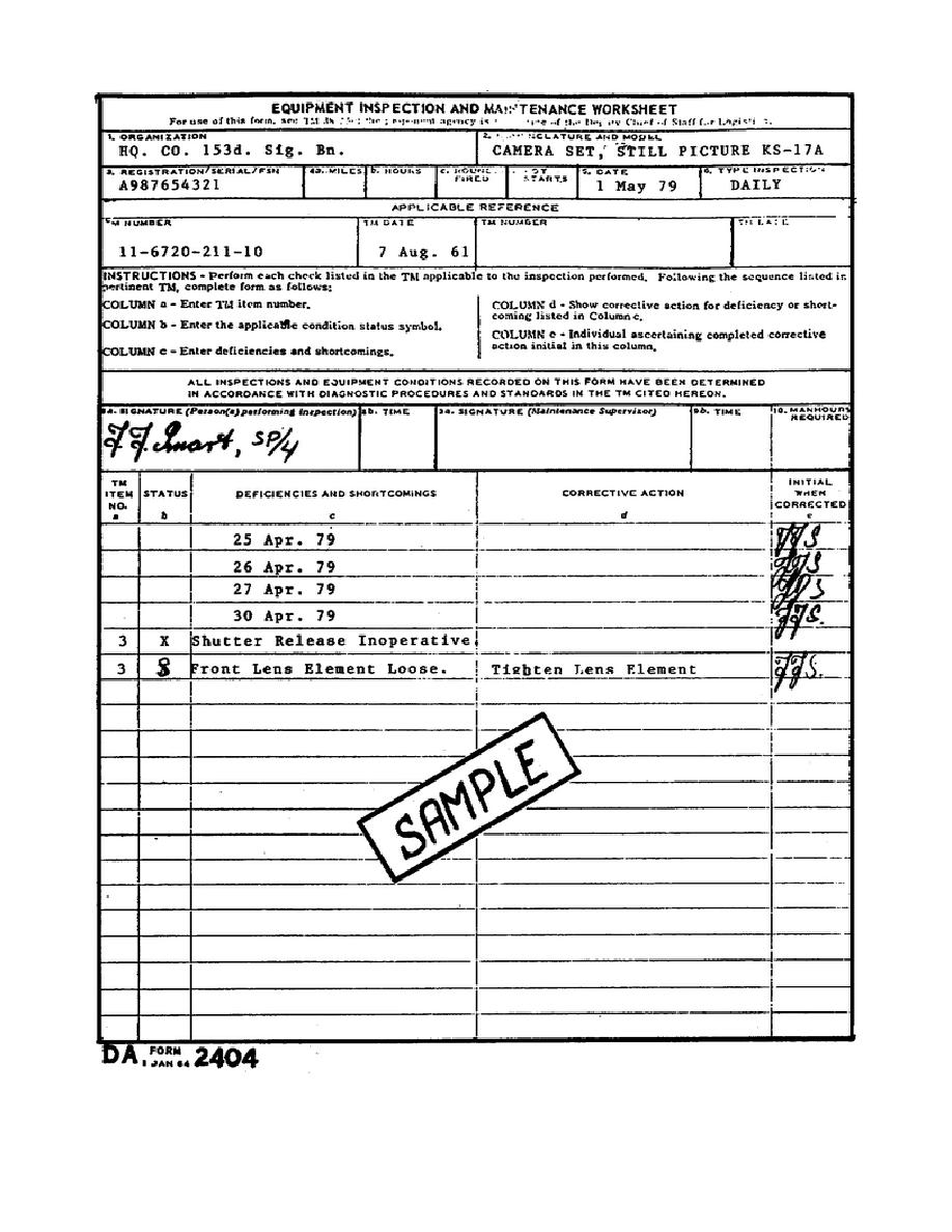 Equipment Inspection And Maintenance Sheet